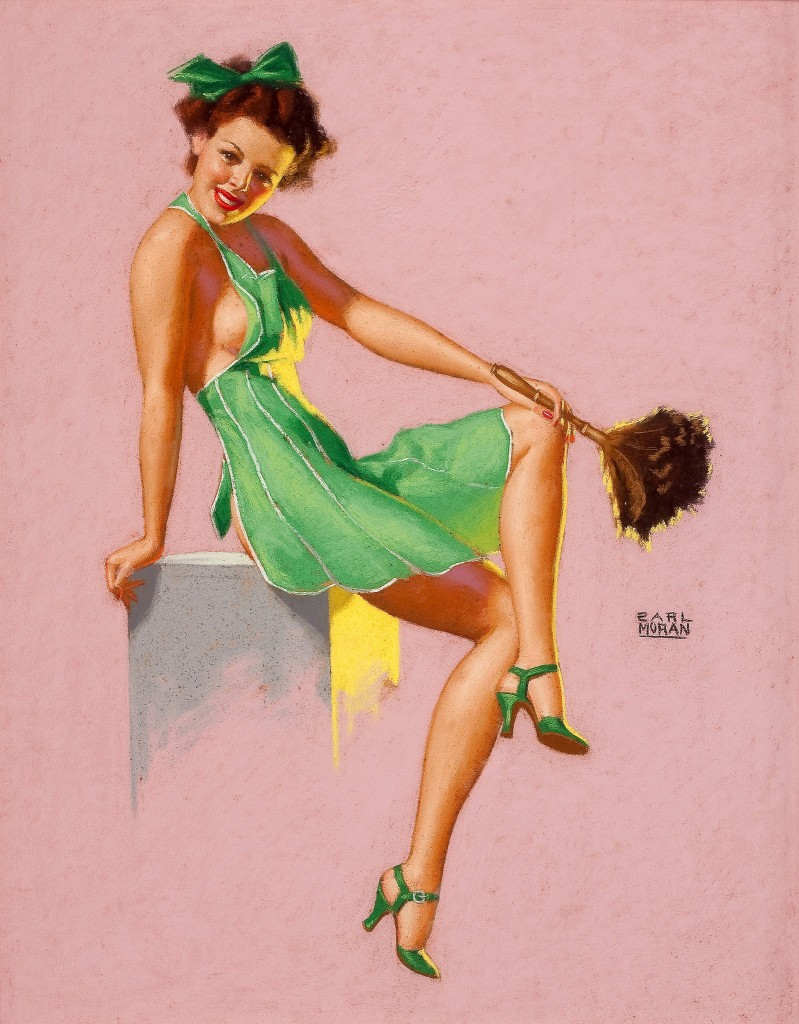 She knows a Tidy House is Happier ( Vintage Pin Up by Earl Moran)