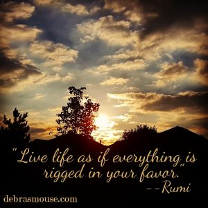 """Live life as if everything is rigged in your favor."" -- Rumi"